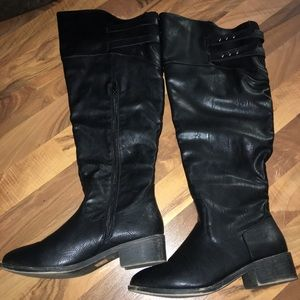 WIDE CALF knee high black boots